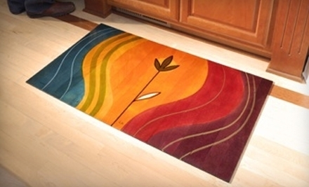 National Groupon for $99 for a Hand-Painted 2 ft x 3 ft Wooden Floor Mat at Kakadu Art & Design in Wood ($179 Value)