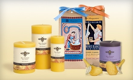 National Groupon for Beeswax Candles, Organic Fabric Care, and Sleepwear from Periwinkle Rose