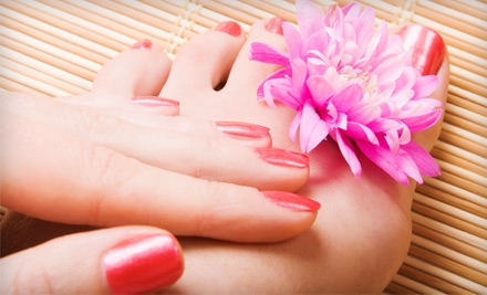 Waterless Mani-Pedi or Full Set of Acrylic or Organic Nails and Waterless Pedicure at Leaondra Fashion in Eastover