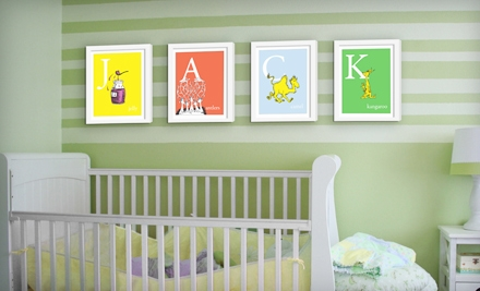 Dr. Seuss Alphabet Art, Unframed or Framed from Seuss Prints